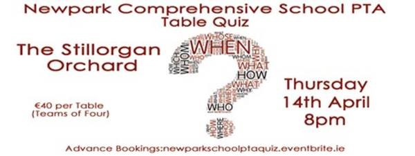 PTA Table Quiz on Thursday 14th April | Newpark